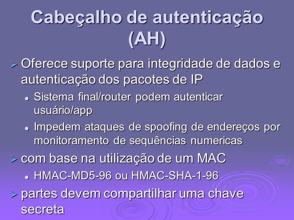 Cabeçalho de autenticação (AH) Oferece suporte para integridade de dados e autenticação dos pacotes de IP Oferece suporte para integridade de dados e