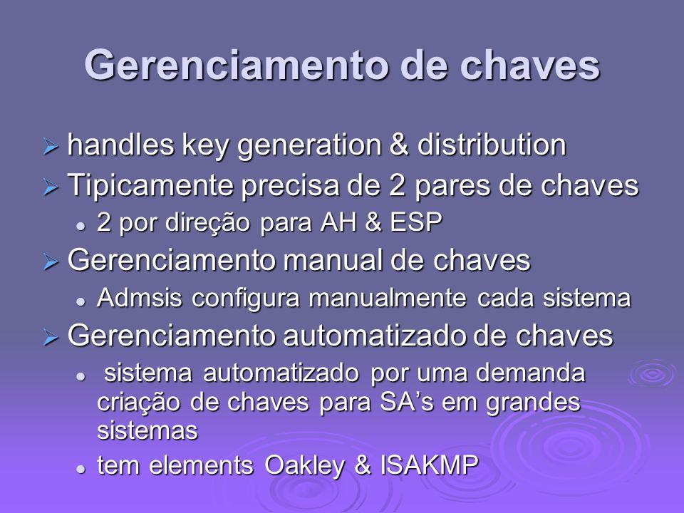 Gerenciamento de chaves handles key generation & distribution handles key generation & distribution Tipicamente precisa de 2 pares de chaves Tipicamen