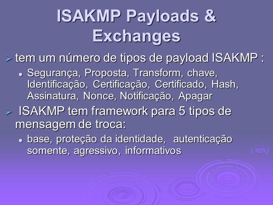 ISAKMP Payloads & Exchanges tem um número de tipos de payload ISAKMP : tem um número de tipos de payload ISAKMP : Segurança, Proposta, Transform, chav