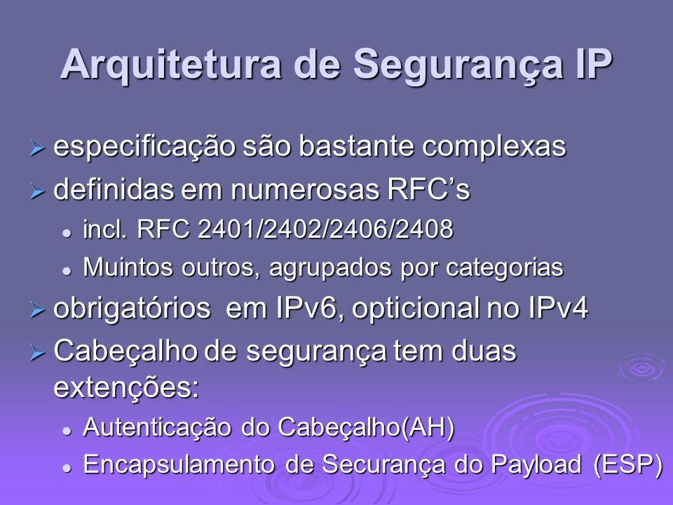 Arquitetura de Segurança IP especificação são bastante complexas especificação são bastante complexas definidas em numerosas RFCs definidas em numeros