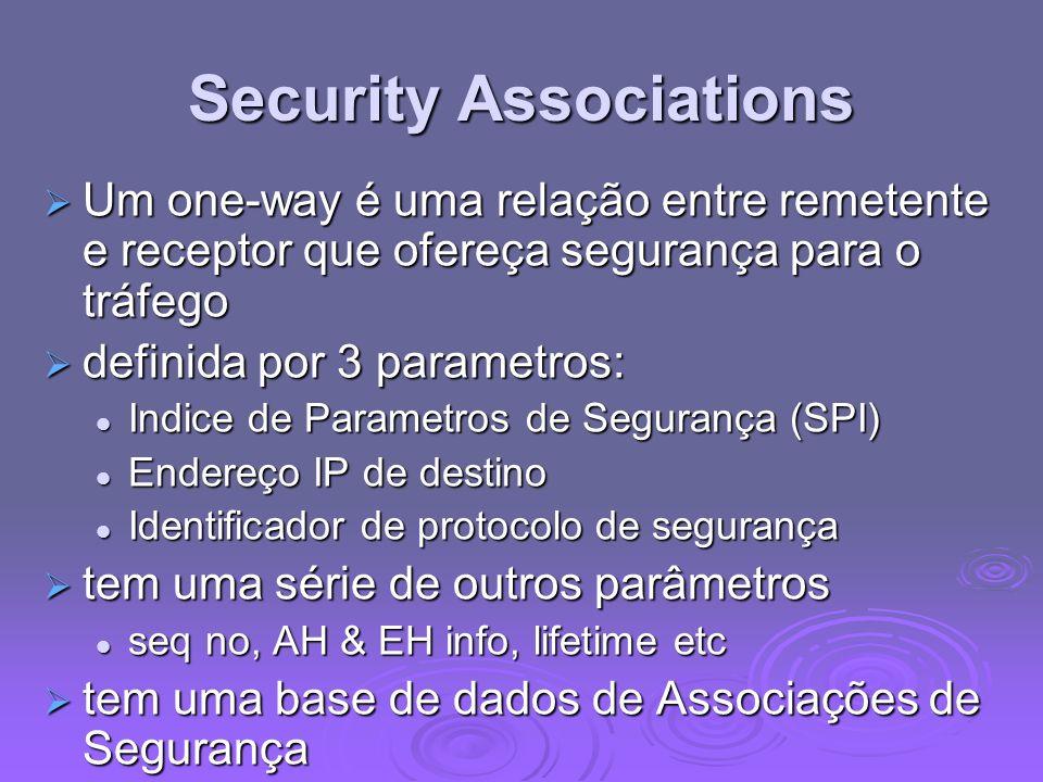 Security Associations Um one-way é uma relação entre remetente e receptor que ofereça segurança para o tráfego Um one-way é uma relação entre remetent