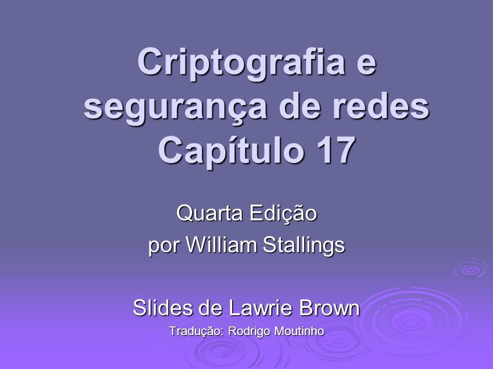 Criptografia e segurança de redes Capítulo 17 Quarta Edição por William Stallings Slides de Lawrie Brown Tradução: Rodrigo Moutinho