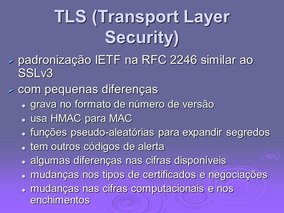 TLS (Transport Layer Security) padronização IETF na RFC 2246 similar ao SSLv3 padronização IETF na RFC 2246 similar ao SSLv3 com pequenas diferenças c