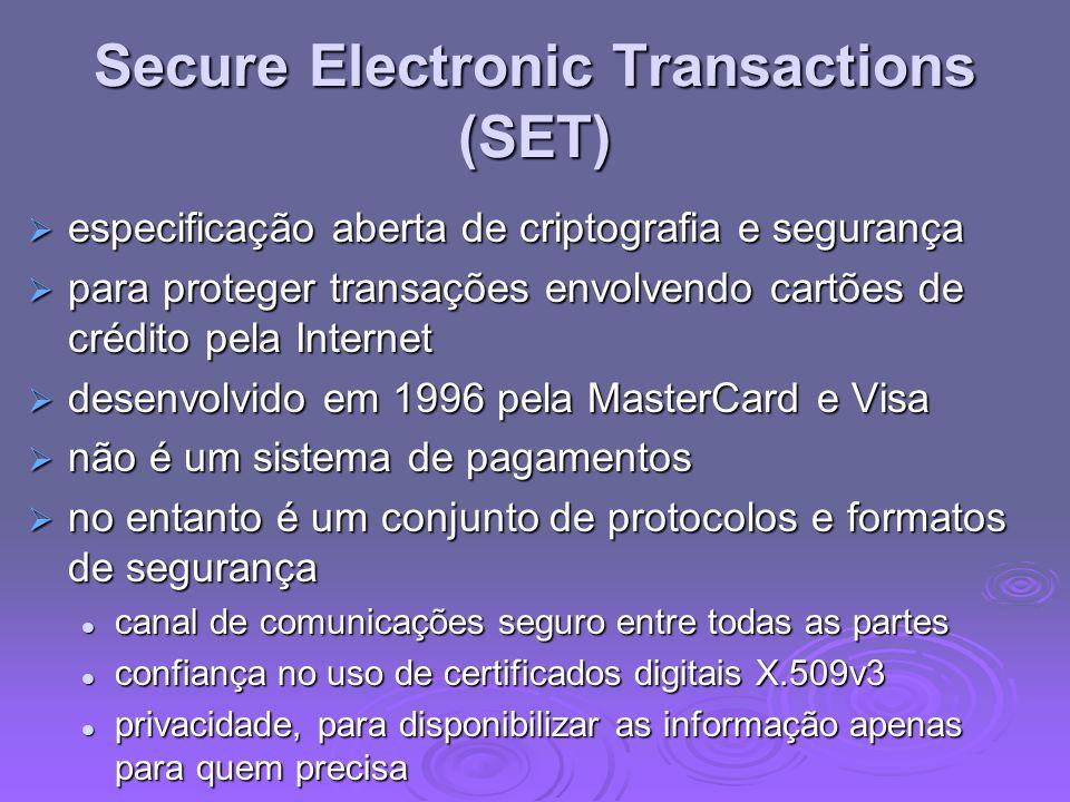 Secure Electronic Transactions (SET) especificação aberta de criptografia e segurança especificação aberta de criptografia e segurança para proteger t