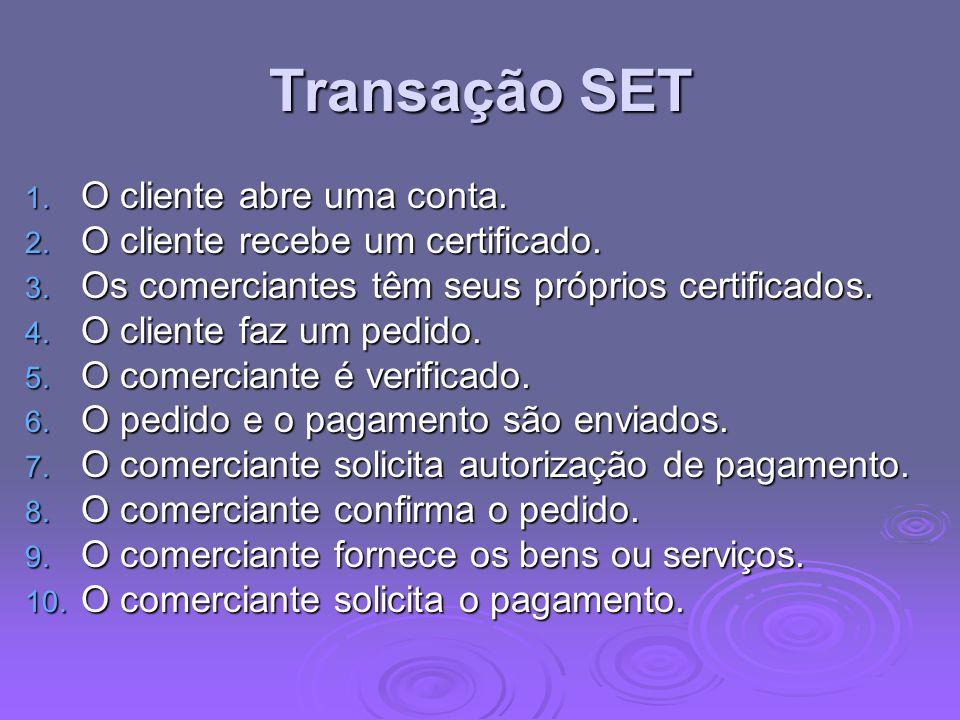 Transação SET 1. O cliente abre uma conta. 2. O cliente recebe um certificado. 3. Os comerciantes têm seus próprios certificados. 4. O cliente faz um