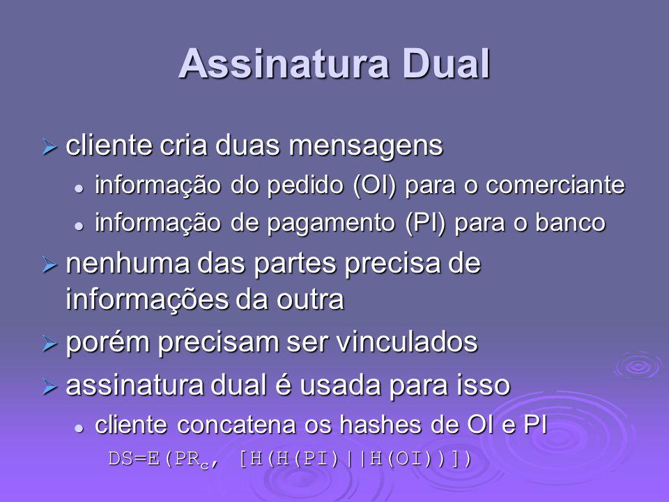 Assinatura Dual cliente cria duas mensagens cliente cria duas mensagens informação do pedido (OI) para o comerciante informação do pedido (OI) para o