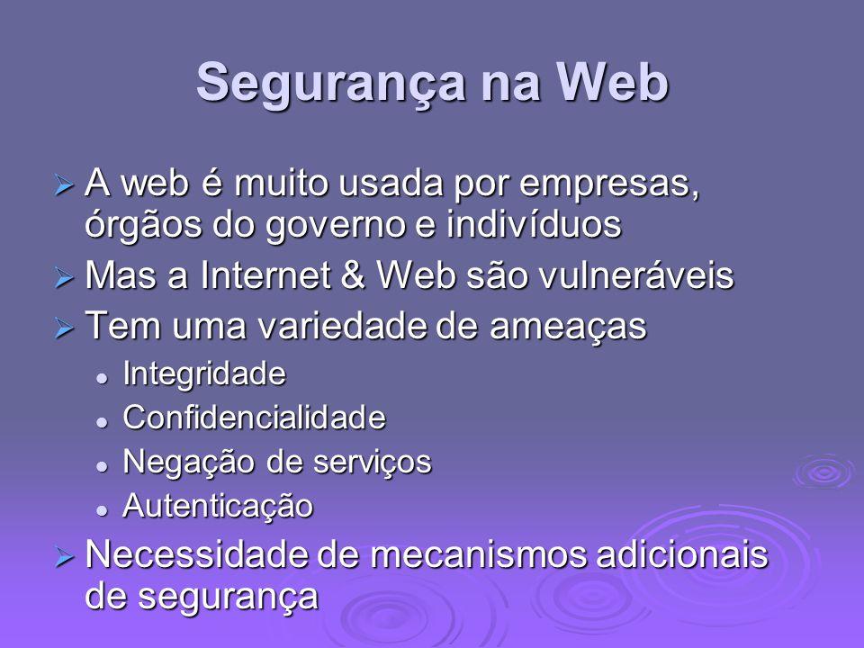Segurança na Web A web é muito usada por empresas, órgãos do governo e indivíduos A web é muito usada por empresas, órgãos do governo e indivíduos Mas