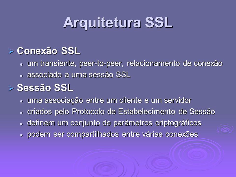 Arquitetura SSL Conexão SSL Conexão SSL um transiente, peer-to-peer, relacionamento de conexão um transiente, peer-to-peer, relacionamento de conexão