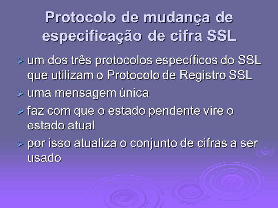 Protocolo de mudança de especificação de cifra SSL um dos três protocolos específicos do SSL que utilizam o Protocolo de Registro SSL um dos três prot