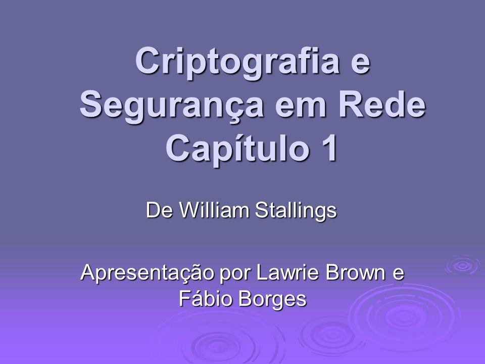 Criptografia e Segurança em Rede Capítulo 1 De William Stallings Apresentação por Lawrie Brown e Fábio Borges