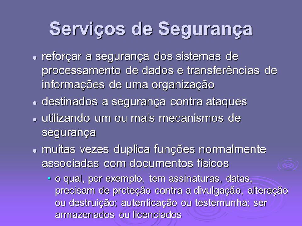 Serviços de Segurança reforçar a segurança dos sistemas de processamento de dados e transferências de informações de uma organização reforçar a segura