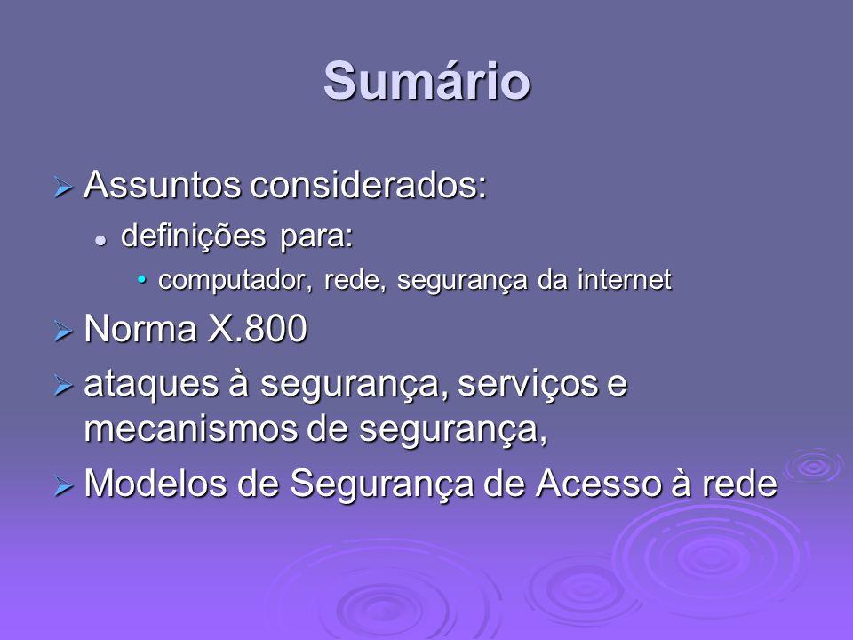 Sumário Assuntos considerados: Assuntos considerados: definições para: definições para: computador, rede, segurança da internetcomputador, rede, segur