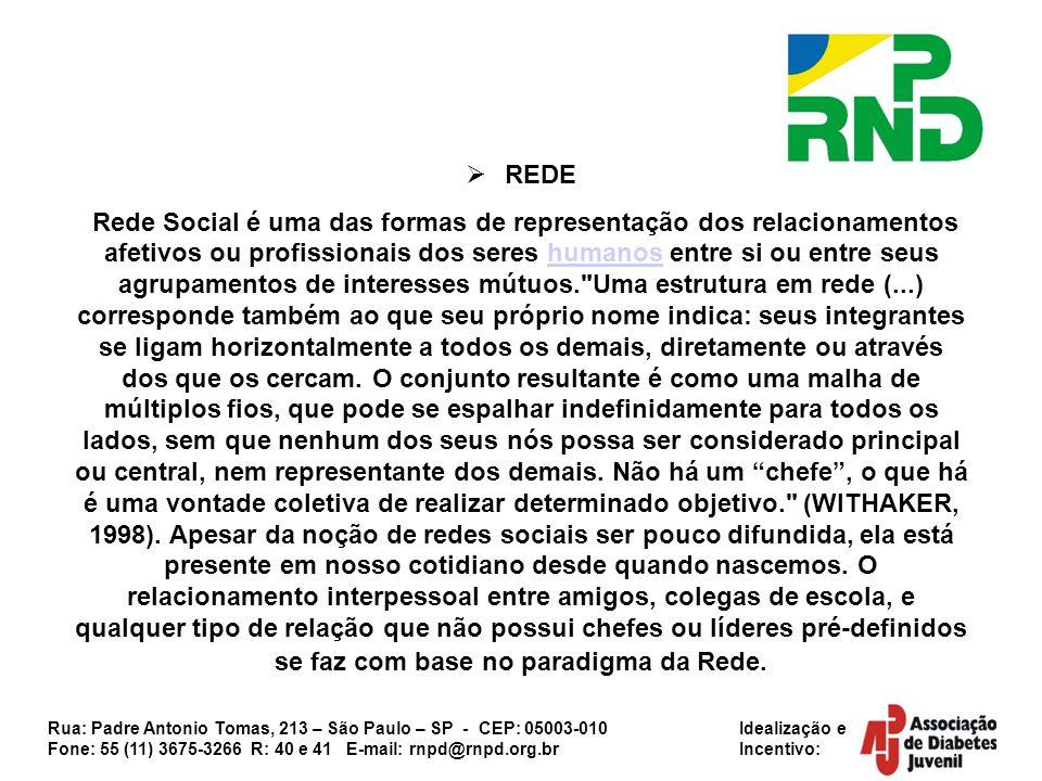 Rua: Padre Antonio Tomas, 213 – São Paulo – SP - CEP: 05003-010 Idealização e Fone: 55 (11) 3675-3266 R: 40 e 41 E-mail: rnpd@rnpd.org.br Incentivo: PARA QUE POSSAMOS ACEITAR OU PREITEAR TAIS REPRESENTAÇÕES DEVEMOS ANALISAR OS SEGUINTES PONTOS: Nossa capacidade de comunicação e de entendimento político; Nosso conhecimento sobre a questão a que nos propomos a defender; Nosso tempo disponível para tal; Possíveis parcerias que possamos ter (lembrando que nenhuma parceria pode sobrepor a vontade do coletivo).