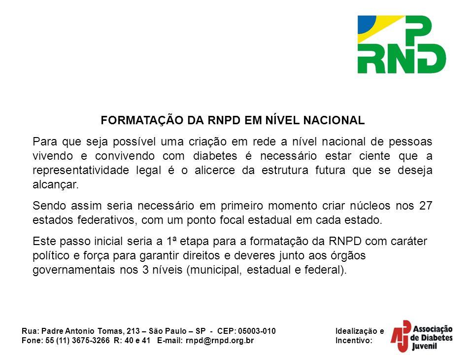 Rua: Padre Antonio Tomas, 213 – São Paulo – SP - CEP: 05003-010 Idealização e Fone: 55 (11) 3675-3266 R: 40 e 41 E-mail: rnpd@rnpd.org.br Incentivo: F