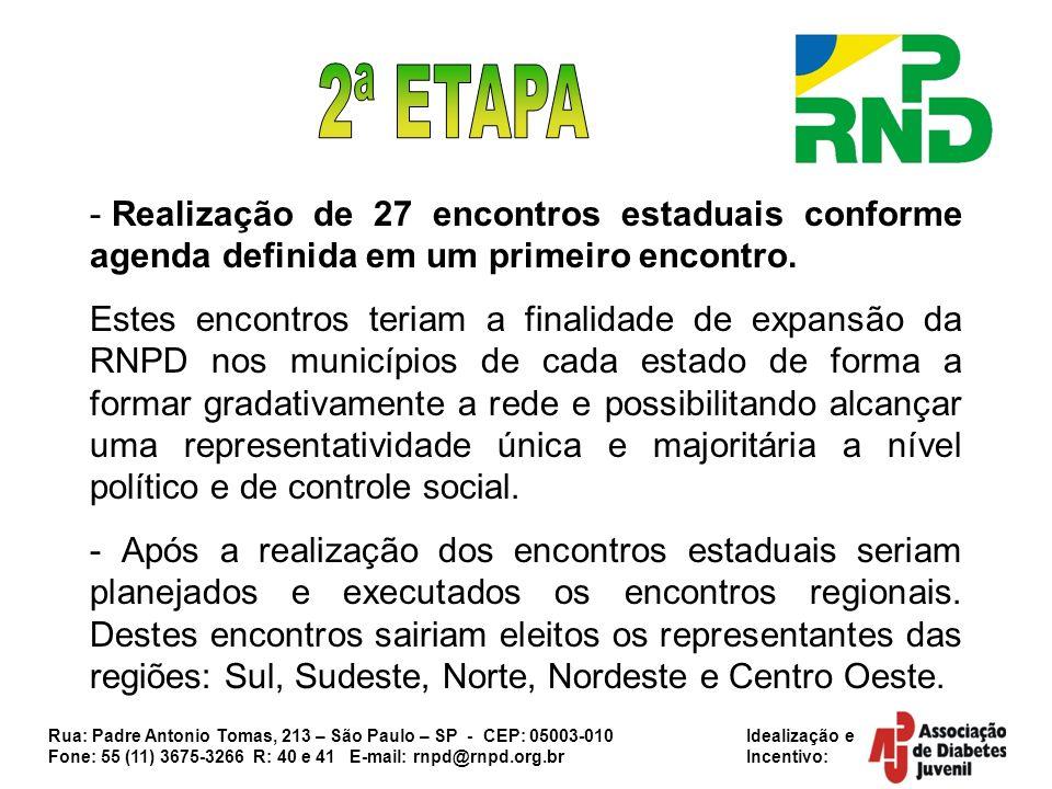 Rua: Padre Antonio Tomas, 213 – São Paulo – SP - CEP: 05003-010 Idealização e Fone: 55 (11) 3675-3266 R: 40 e 41 E-mail: rnpd@rnpd.org.br Incentivo: - Para finalizar a criação da RNPD seria realizado por fim o Encontro Nacional, este reunindo o maior número de participantes possíveis.