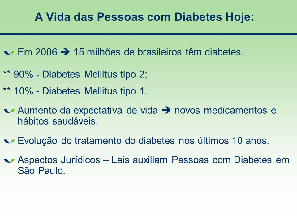 A Vida das Pessoas com Diabetes Hoje: Em 2006 15 milhões de brasileiros têm diabetes. ** 90% - Diabetes Mellitus tipo 2; ** 10% - Diabetes Mellitus ti