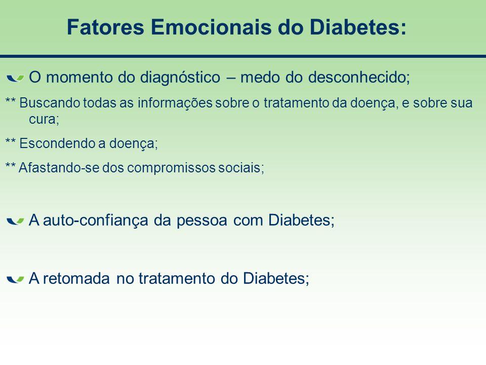 Fatores Emocionais do Diabetes: O momento do diagnóstico – medo do desconhecido; ** Buscando todas as informações sobre o tratamento da doença, e sobr