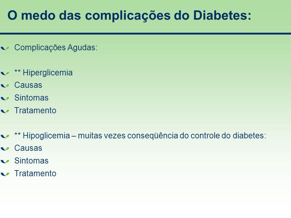 O medo das complicações do Diabetes: Complicações Agudas: ** Hiperglicemia Causas Sintomas Tratamento ** Hipoglicemia – muitas vezes conseqüência do c