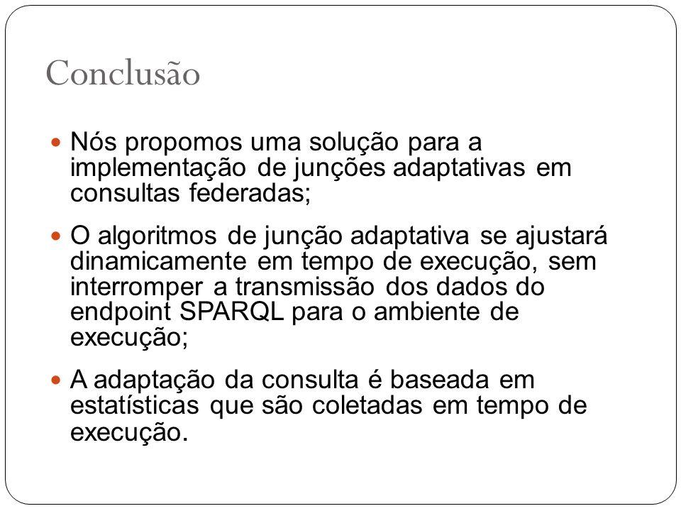 Conclusão Nós propomos uma solução para a implementação de junções adaptativas em consultas federadas; O algoritmos de junção adaptativa se ajustará d