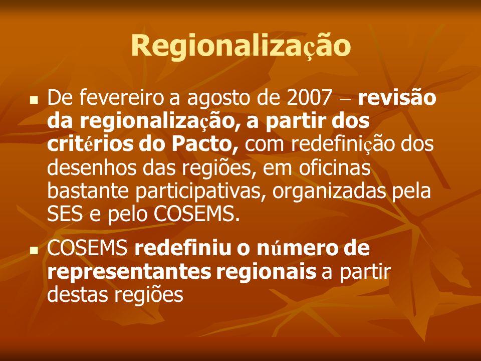 Regionaliza ç ão De fevereiro a agosto de 2007 – revisão da regionaliza ç ão, a partir dos crit é rios do Pacto, com redefini ç ão dos desenhos das re