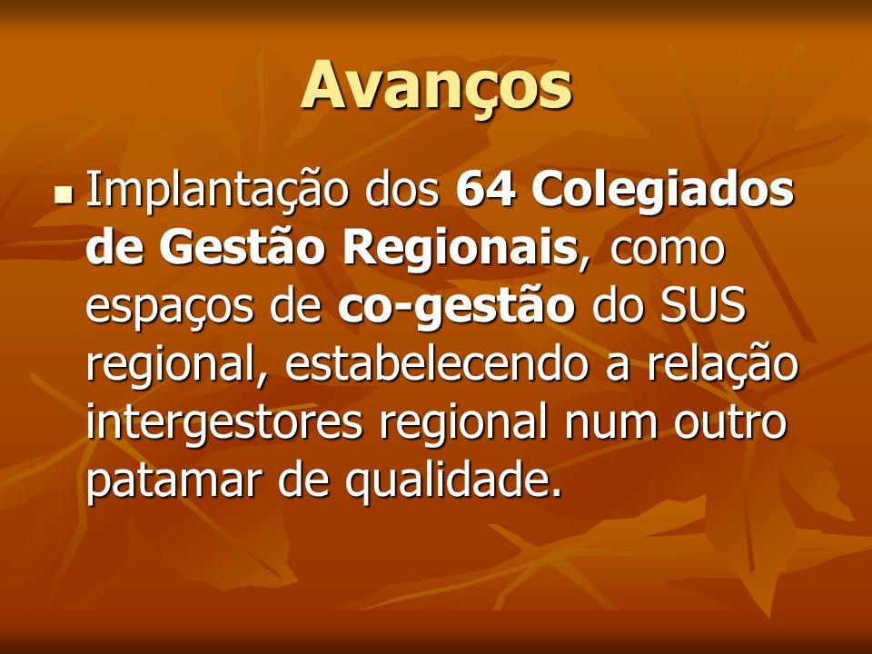 Avanços Implantação dos 64 Colegiados de Gestão Regionais, como espaços de co-gestão do SUS regional, estabelecendo a relação intergestores regional n
