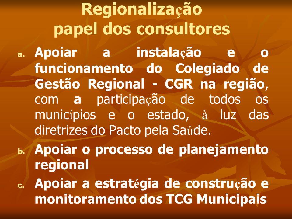Regionaliza ç ão papel dos consultores a. a. Apoiar a instala ç ão e o funcionamento do Colegiado de Gestão Regional - CGR na região, com a participa