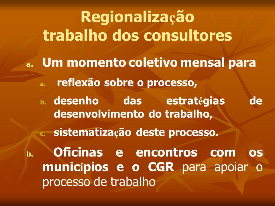 Regionaliza ç ão trabalho dos consultores a. a. Um momento coletivo mensal para a. a. reflexão sobre o processo, b. b. desenho das estrat é gias de de