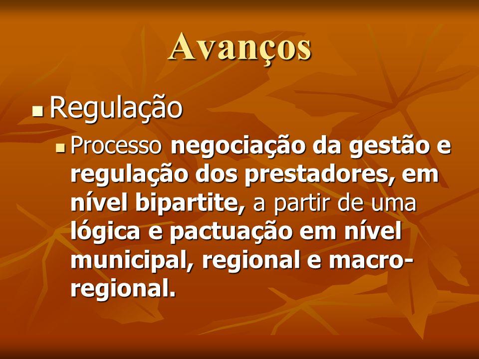 Avanços Regulação Regulação Processo negociação da gestão e regulação dos prestadores, em nível bipartite, a partir de uma lógica e pactuação em nível