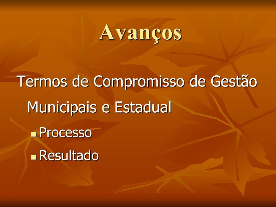 Avanços Termos de Compromisso de Gestão Municipais e Estadual Processo Processo Resultado Resultado