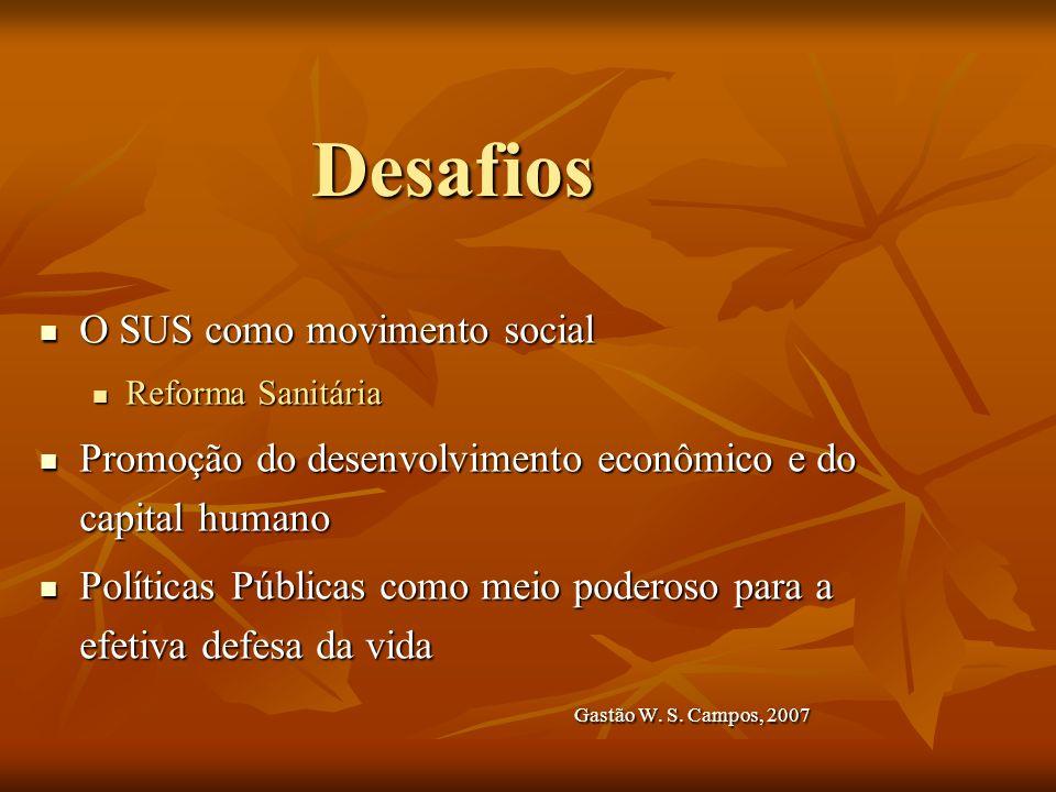 Desafios O SUS como movimento social O SUS como movimento social Reforma Sanitária Reforma Sanitária Promoção do desenvolvimento econômico e do capita