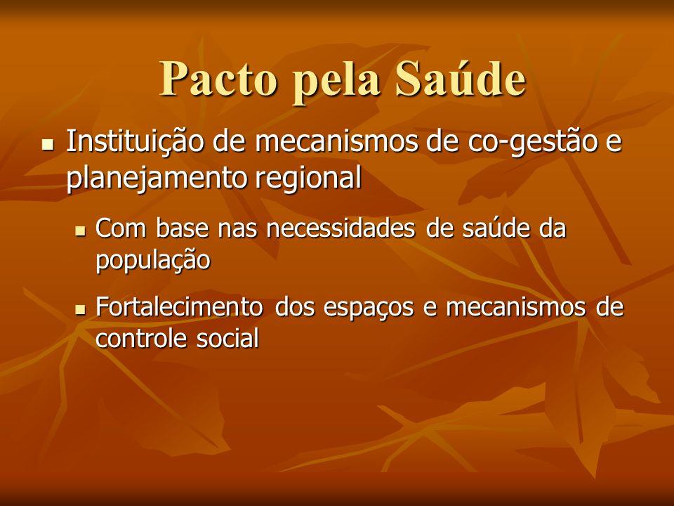 Pacto pela Saúde Instituição de mecanismos de co-gestão e planejamento regional Instituição de mecanismos de co-gestão e planejamento regional Com bas