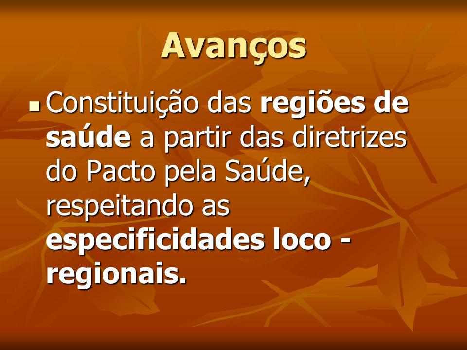Avanços Constituição das regiões de saúde a partir das diretrizes do Pacto pela Saúde, respeitando as especificidades loco - regionais. Constituição d