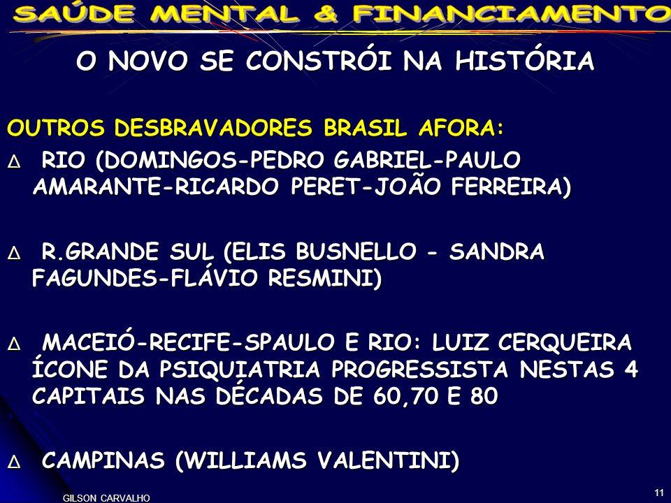 GILSON CARVALHO 11 O NOVO SE CONSTRÓI NA HISTÓRIA OUTROS DESBRAVADORES BRASIL AFORA: RIO (DOMINGOS-PEDRO GABRIEL-PAULO AMARANTE-RICARDO PERET-JOÃO FERREIRA) RIO (DOMINGOS-PEDRO GABRIEL-PAULO AMARANTE-RICARDO PERET-JOÃO FERREIRA) R.GRANDE SUL (ELIS BUSNELLO - SANDRA FAGUNDES-FLÁVIO RESMINI) R.GRANDE SUL (ELIS BUSNELLO - SANDRA FAGUNDES-FLÁVIO RESMINI) MACEIÓ-RECIFE-SPAULO E RIO: LUIZ CERQUEIRA ÍCONE DA PSIQUIATRIA PROGRESSISTA NESTAS 4 CAPITAIS NAS DÉCADAS DE 60,70 E 80 MACEIÓ-RECIFE-SPAULO E RIO: LUIZ CERQUEIRA ÍCONE DA PSIQUIATRIA PROGRESSISTA NESTAS 4 CAPITAIS NAS DÉCADAS DE 60,70 E 80 CAMPINAS (WILLIAMS VALENTINI) CAMPINAS (WILLIAMS VALENTINI)