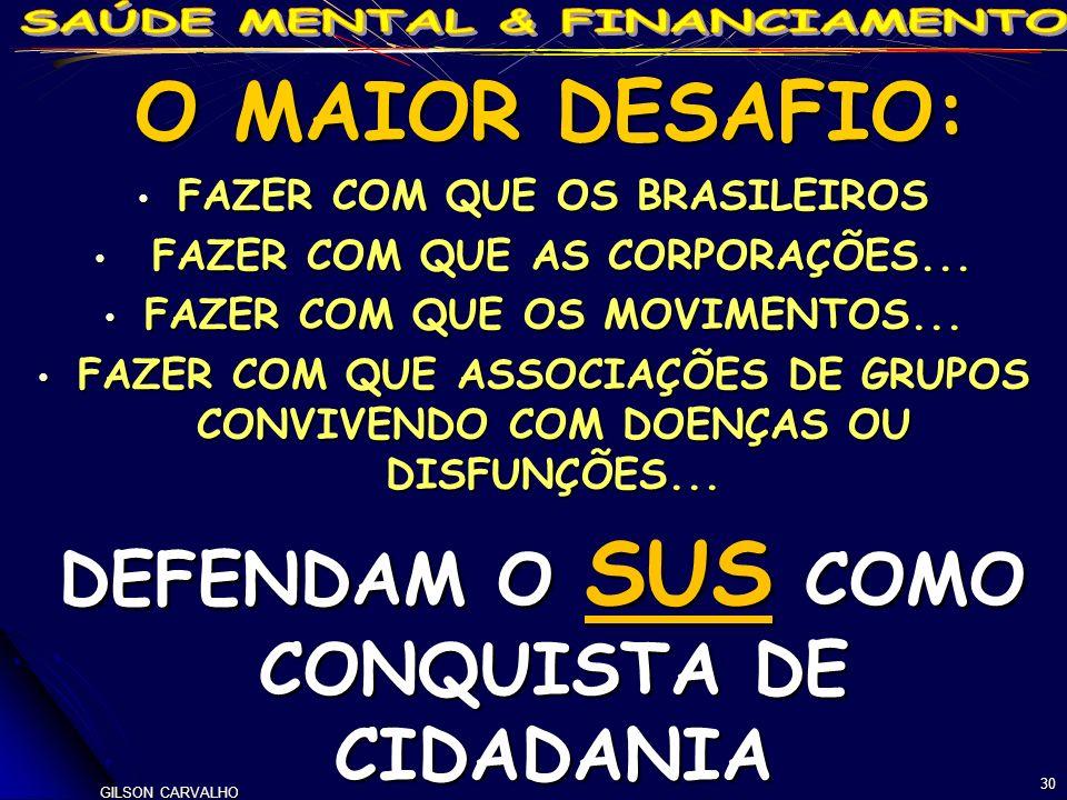 GILSON CARVALHO 30 O MAIOR DESAFIO: O MAIOR DESAFIO: FAZER COM QUE OS BRASILEIROS FAZER COM QUE OS BRASILEIROS FAZER COM QUE AS CORPORAÇÕES...