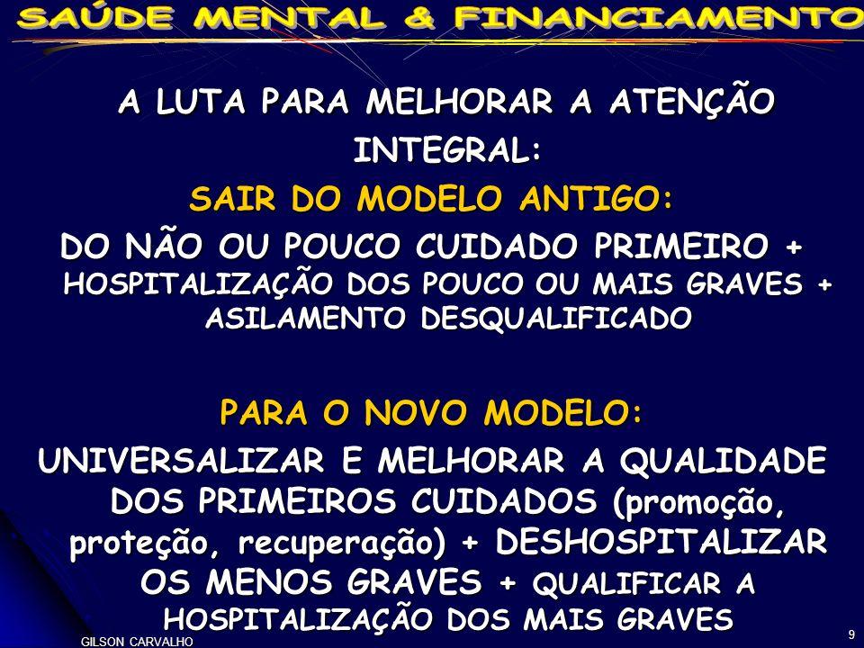 GILSON CARVALHO 9 A LUTA PARA MELHORAR A ATENÇÃO INTEGRAL: A LUTA PARA MELHORAR A ATENÇÃO INTEGRAL: SAIR DO MODELO ANTIGO: DO NÃO OU POUCO CUIDADO PRIMEIRO + HOSPITALIZAÇÃO DOS POUCO OU MAIS GRAVES + ASILAMENTO DESQUALIFICADO PARA O NOVO MODELO: UNIVERSALIZAR E MELHORAR A QUALIDADE DOS PRIMEIROS CUIDADOS (promoção, proteção, recuperação) + DESHOSPITALIZAR OS MENOS GRAVES + QUALIFICAR A HOSPITALIZAÇÃO DOS MAIS GRAVES