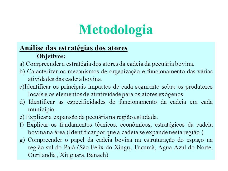 Metodologia Análise de dados estatísticos Os dados estatísticos referentes às propriedades, ao comércio de gado, à atividade industrial, aos serviços