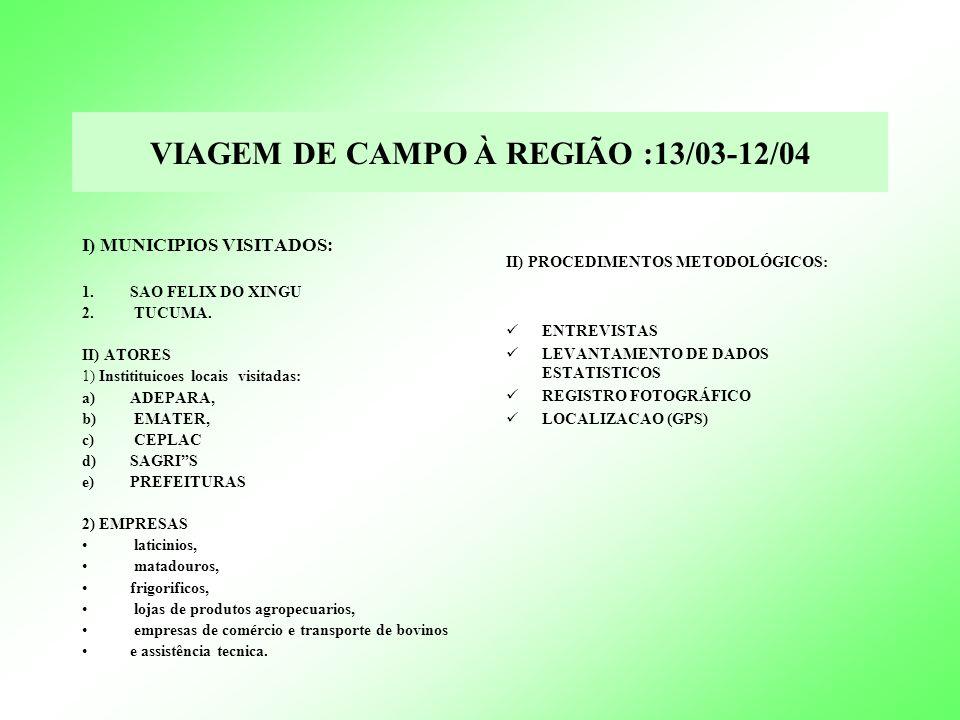 VIAGEM DE CAMPO A REGIAO :13/03-12/04