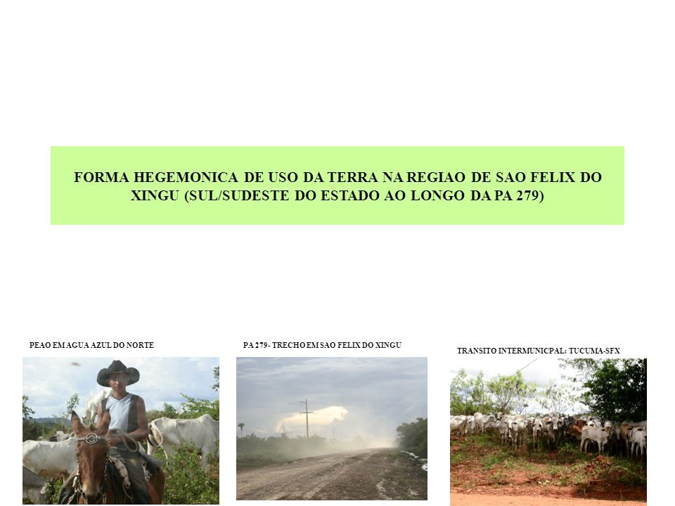 Demonstrativo de propriedades por area (hectares) AGUA AZUL DO NORTE; OURILANDIA DO NORTE; TUCUMA; SAO FELIX DO XINGU