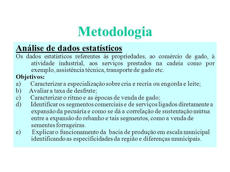 Metodologia Análise de dados estatísticos Os dados estatísticos referentes às propriedades, ao comércio de gado, à atividade industrial, aos serviços prestados na cadeia como por exemplo, assistência técnica, transporte de gado etc.