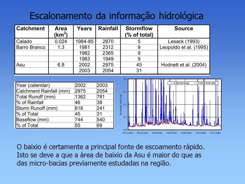 Escalonamento da informação hidrológica O baixio é certamente a principal fonte de escoamento rápido. Isto se deve a que a área de baixio da Asu é mai