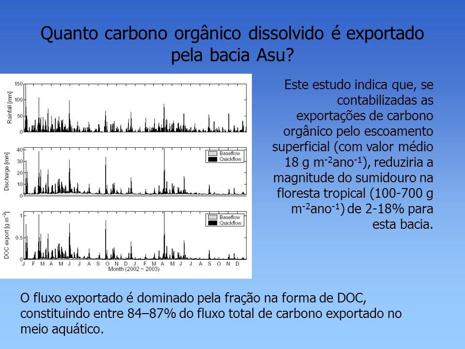 Quanto carbono orgânico dissolvido é exportado pela bacia Asu? Este estudo indica que, se contabilizadas as exportações de carbono orgânico pelo escoa