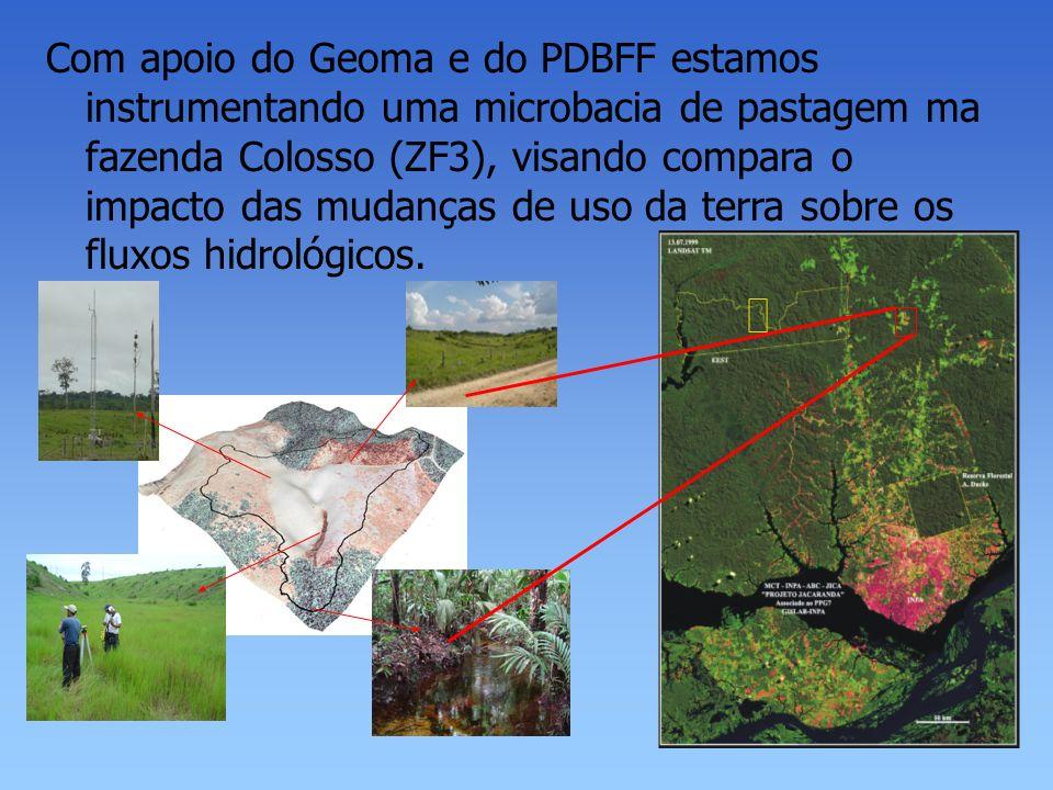 Com apoio do Geoma e do PDBFF estamos instrumentando uma microbacia de pastagem ma fazenda Colosso (ZF3), visando compara o impacto das mudanças de us
