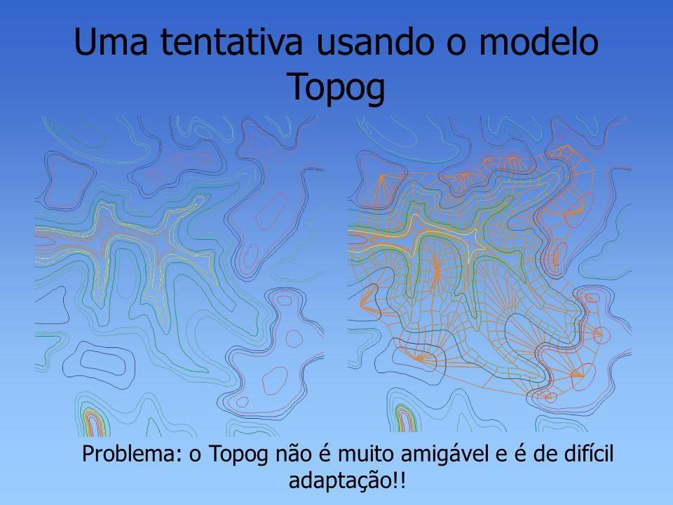 Uma tentativa usando o modelo Topog Problema: o Topog não é muito amigável e é de difícil adaptação!!