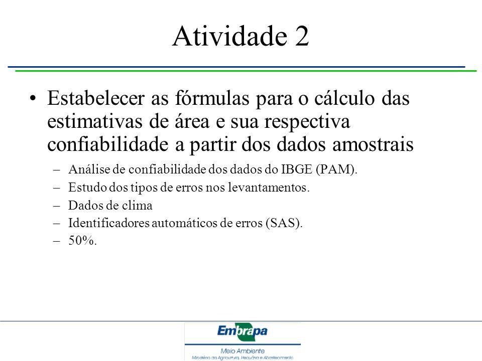 Atividade 2 Estabelecer as fórmulas para o cálculo das estimativas de área e sua respectiva confiabilidade a partir dos dados amostrais –Análise de co