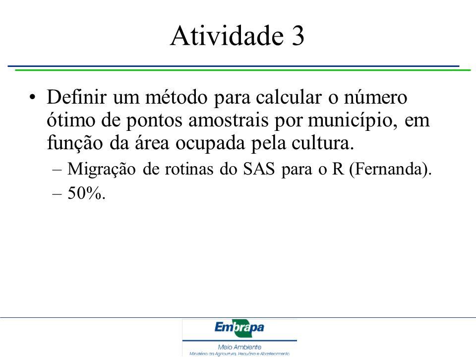 Atividade 3 Definir um método para calcular o número ótimo de pontos amostrais por município, em função da área ocupada pela cultura. –Migração de rot
