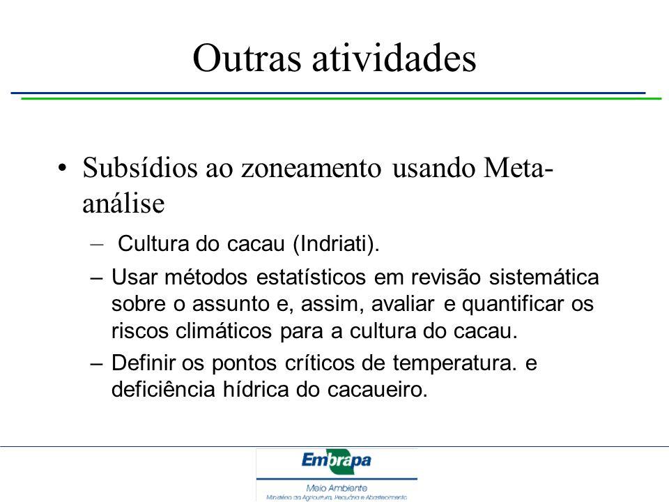 Outras atividades Subsídios ao zoneamento usando Meta- análise – Cultura do cacau (Indriati). – Usar métodos estatísticos em revisão sistemática sobre