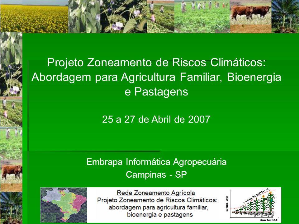 Projeto Zoneamento de Riscos Climáticos: Abordagem para Agricultura Familiar, Bioenergia e Pastagens 25 a 27 de Abril de 2007 Embrapa Informática Agro