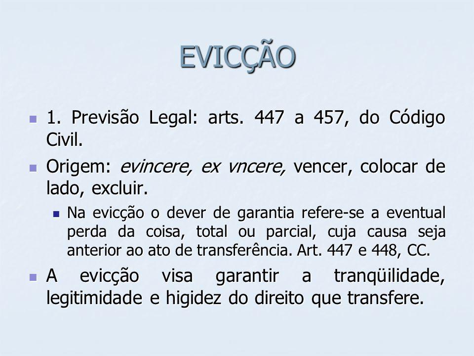 EVICÇÃO 1. Previsão Legal: arts. 447 a 457, do Código Civil. 1. Previsão Legal: arts. 447 a 457, do Código Civil. Origem: evincere, ex vncere, vencer,