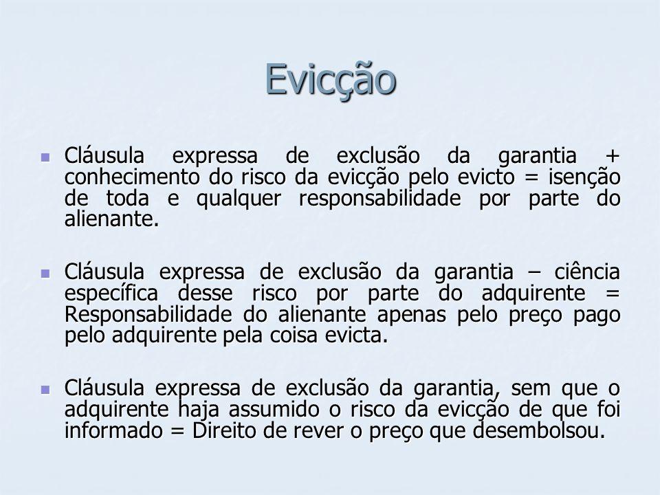 Evicção Cláusula expressa de exclusão da garantia + conhecimento do risco da evicção pelo evicto = isenção de toda e qualquer responsabilidade por par