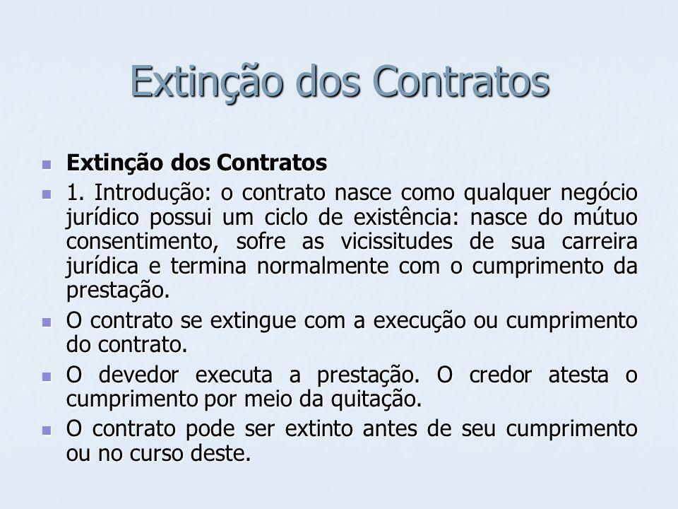 Extinção dos Contratos Extinção dos Contratos Extinção dos Contratos 1. Introdução: o contrato nasce como qualquer negócio jurídico possui um ciclo de